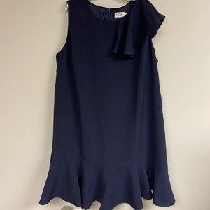 Navy Ruffle Shoulder Peplum Hem Dress
